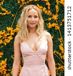 Small photo of Liberty State Park, NJ - June 1, 2019: Jennifer Lawrence wearing dress by Rosie Assoulin attends 12th Annual Veuve Clicquot Polo Classic at Liberty State Park