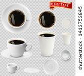 3d realistic espresso coffee in ... | Shutterstock .eps vector #1413753845