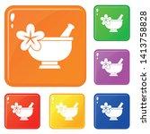 mortar and pestle pharmacy... | Shutterstock .eps vector #1413758828