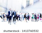 business people rushing in the...   Shutterstock . vector #1413760532