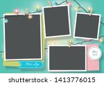 template for photo collage... | Shutterstock .eps vector #1413776015