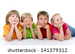 cute funny children in colored... | Shutterstock . vector #141379312