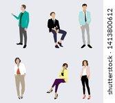 confident business people man... | Shutterstock .eps vector #1413800612
