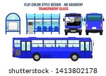 city bus and bus stop  side... | Shutterstock .eps vector #1413802178