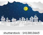winter landscape with houses... | Shutterstock .eps vector #1413813665