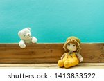 old toy and teddy bear on old... | Shutterstock . vector #1413833522