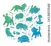 pet shop silhouette  types of... | Shutterstock .eps vector #1413853568