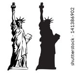Statue Of Liberty  outline and silhouette vector - stock vector