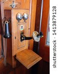 Very Old Wooden Telephone In...