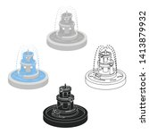 fountain icon in cartoon black... | Shutterstock .eps vector #1413879932