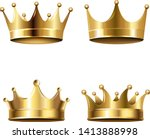 crown set isolated white... | Shutterstock .eps vector #1413888998