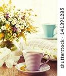 morning tea and bright wild... | Shutterstock . vector #141391285