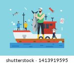 fishery  fish industry in tiny... | Shutterstock .eps vector #1413919595