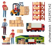 warehouse flat elements.... | Shutterstock .eps vector #1413937142