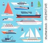 Ships Boats Flat. Maritime...