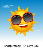 vector happy sun cartoon in...