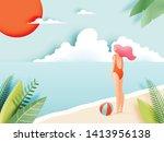 beautiful girl with beautiful...   Shutterstock .eps vector #1413956138