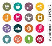 diet and fitness theme icons set | Shutterstock .eps vector #141397642