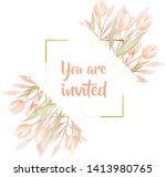 watercolor floral frame....   Shutterstock .eps vector #1413980765