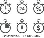 stopwatch flat icons isolated...