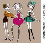 fashion girls | Shutterstock .eps vector #141398482