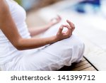 yoga woman meditating and... | Shutterstock . vector #141399712