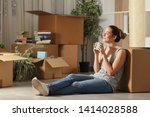 happy tenant moving home... | Shutterstock . vector #1414028588