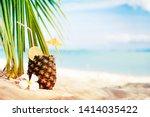 summer beach background with... | Shutterstock . vector #1414035422