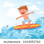 young boy surfing on sea. child ... | Shutterstock .eps vector #1414052762