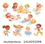 set of summer scenes with... | Shutterstock .eps vector #1414053398