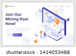 landing page with man ascending ... | Shutterstock .eps vector #1414053488