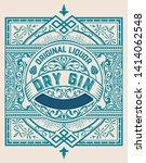 vintage gin label. vector... | Shutterstock .eps vector #1414062548