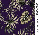 tropical floral foliage dark... | Shutterstock .eps vector #1414065785