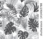 tropical floral foliage grey... | Shutterstock .eps vector #1414065788