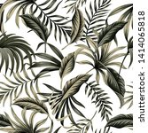 tropical floral foliage dark... | Shutterstock .eps vector #1414065818