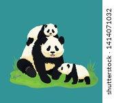 giant panda family. smiling...