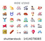 ride icon set. 30 flat ride... | Shutterstock .eps vector #1414078085