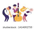 cartoon jazz musicians group... | Shutterstock .eps vector #1414092755