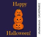 cute happy halloween greeting...   Shutterstock .eps vector #1414096802