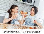 beautiful woman and her cute... | Shutterstock . vector #1414110065