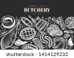 vintage vector meat products... | Shutterstock .eps vector #1414129232