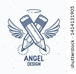 Two Crossed Pencils With Wings...