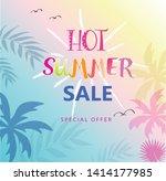 hot summer sale banner. trendy... | Shutterstock .eps vector #1414177985