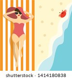 woman lying on the beach at the ... | Shutterstock .eps vector #1414180838