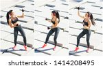 Young, fit and sporty woman doing sports at the stret. Fitness, sport, urban jogging and healthy lifestyle concept.