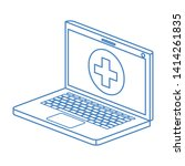 laptop with medical symbol... | Shutterstock .eps vector #1414261835