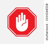 stop icon. hand gesture as...   Shutterstock .eps vector #1414268528