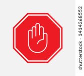 stop icon. hand gesture as... | Shutterstock .eps vector #1414268552
