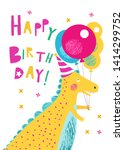 smiling yellow dinosaur with a... | Shutterstock .eps vector #1414299752