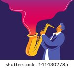 saxophone player with abstract... | Shutterstock .eps vector #1414302785